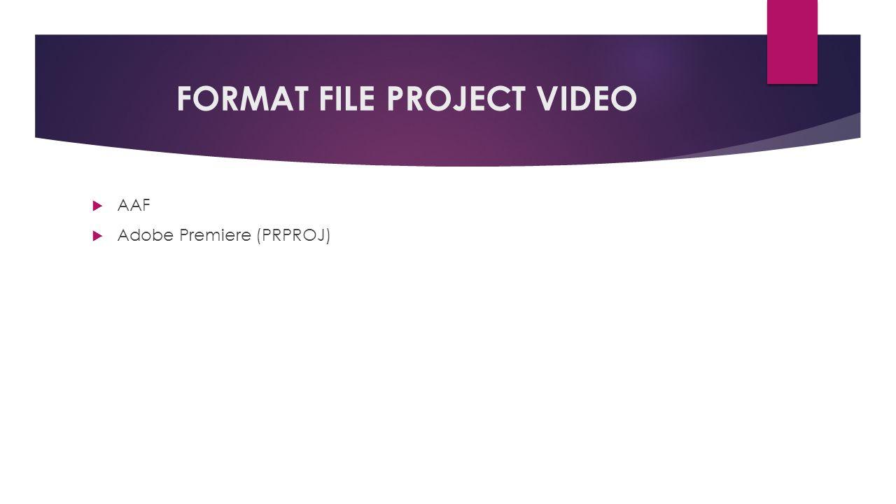 FORMAT FILE PROJECT VIDEO  AAF  Adobe Premiere (PRPROJ)