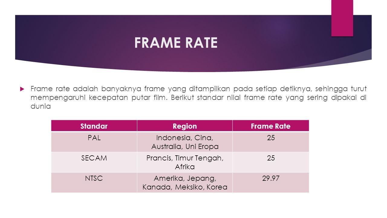 FRAME RATE  Frame rate adalah banyaknya frame yang ditampilkan pada setiap detiknya, sehingga turut mempengaruhi kecepatan putar film.