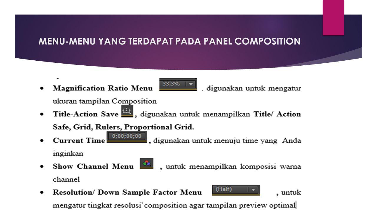 MENU-MENU YANG TERDAPAT PADA PANEL COMPOSITION