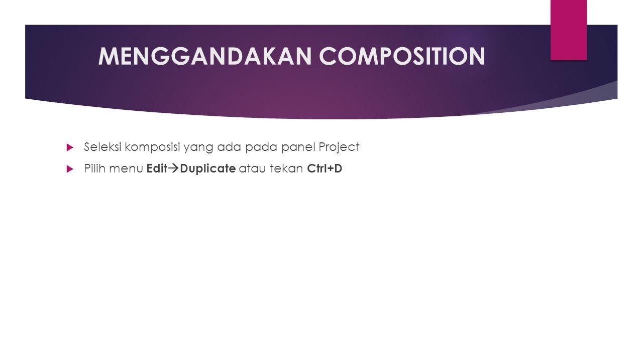 MENGGANDAKAN COMPOSITION  Seleksi komposisi yang ada pada panel Project  Pilih menu Edit  Duplicate atau tekan Ctrl+D