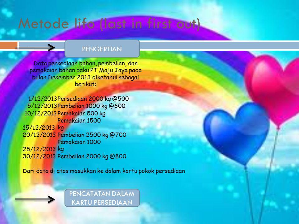 Metode lifo (last in first out) PENGERTIAN PENCATATAN DALAM KARTU PERSEDIAAN Data persediaan bahan, pembelian, dan pemakaian bahan baku PT Maju Jaya pada bulan Desember 2013 diketahui sebagai berikut: 1/12/2013Persediaan 2000 kg @500 5/12/2013Pembelian 1000 kg @600 10/12/2013Pemakaian 500 kg 15/12/2013 Pemakaian 1500 kg 20/12/2013Pembelian 2500 kg @700 25/12/2013 Pemakaian 1000 kg 30/12/2013Pembelian 2000 kg @800 Dari data di atas masukkan ke dalam kartu pokok persediaan