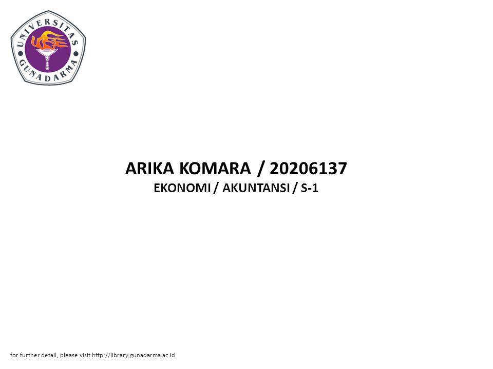 Abstrak ABSTRAKSI UNIVERSITAS GUNADARMA EKONOMI / AKUNTANSI / S-1 ARIKA KOMARA / 20206137 Judul : Kata Kunci : ( x + 19 halaman) PERHITUNGAN HARGA POKOK PRODUKSI PADA SHOES HOME INDUSTRY 'RAHMAT' DENGAN MENGGUNAKAN METODE FULL COSTING Metode Full Costing, Shoes Home Industy 'Rahmat' Penggunaan harga pokok produksi dengan menggunakan metode full costing mempunyai peranan penting dalam keputusan manajemen untuk menentukan harga jual suatu produk.Tujuan yang ingin dicapai oleh penulis dalam penulisan ilmiah ini adalah untuk mengetahui berapakah Harga Pokok Produksi per unit sepatu pada Shoes Home Industry 'Rahmat'.