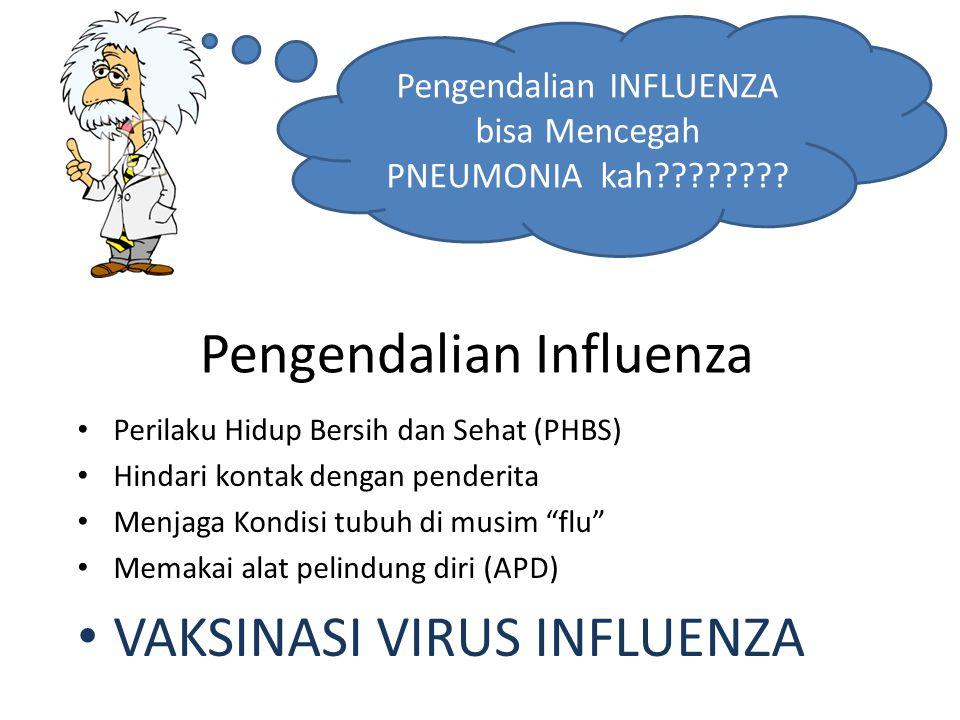 """Pengendalian Influenza Perilaku Hidup Bersih dan Sehat (PHBS) Hindari kontak dengan penderita Menjaga Kondisi tubuh di musim """"flu"""" Memakai alat pelind"""