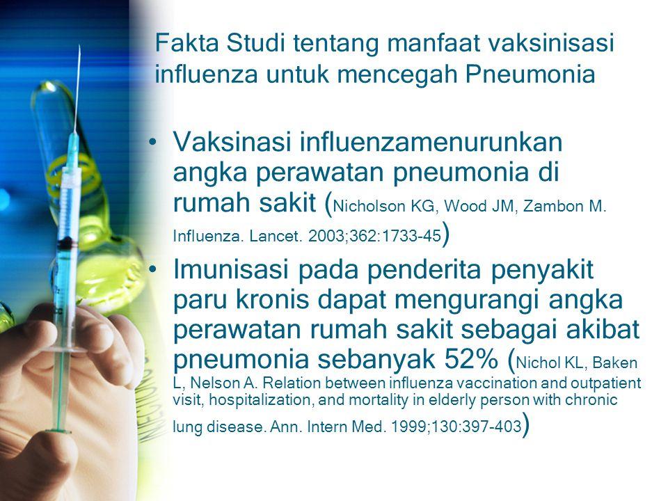 Fakta Studi tentang manfaat vaksinisasi influenza untuk mencegah Pneumonia Vaksinasi influenzamenurunkan angka perawatan pneumonia di rumah sakit ( Ni