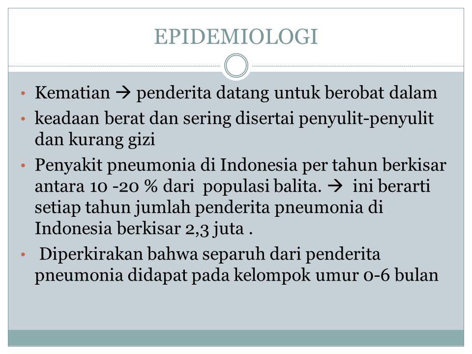 EPIDEMIOLOGI Kematian  penderita datang untuk berobat dalam keadaan berat dan sering disertai penyulit-penyulit dan kurang gizi Penyakit pneumonia di Indonesia per tahun berkisar antara 10 -20 % dari populasi balita.