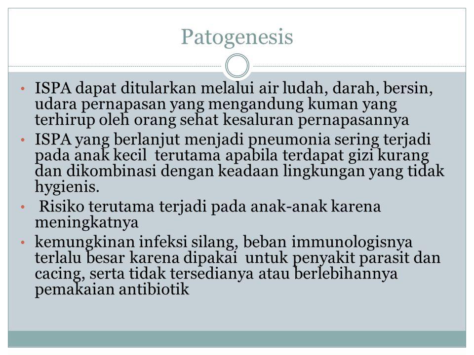 Patogenesis ISPA dapat ditularkan melalui air ludah, darah, bersin, udara pernapasan yang mengandung kuman yang terhirup oleh orang sehat kesaluran pe