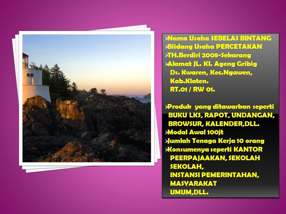  Nama Usaha SEBELAS BINTANG  Biidang Usaha PERCETAKAN  TH.Berdiri 2008-Sekarang  Alamat JL.