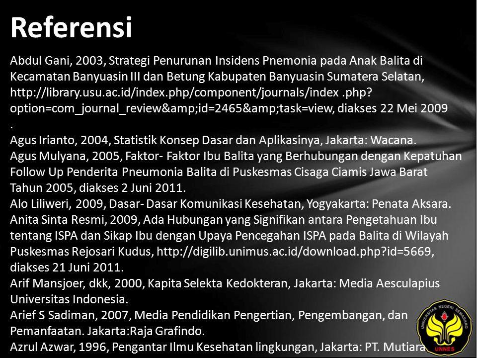Referensi Abdul Gani, 2003, Strategi Penurunan Insidens Pnemonia pada Anak Balita di Kecamatan Banyuasin III dan Betung Kabupaten Banyuasin Sumatera Selatan, http://library.usu.ac.id/index.php/component/journals/index.php.