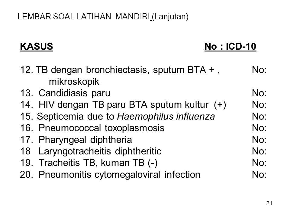 21 LEMBAR SOAL LATIHAN MANDIRI (Lanjutan) KASUS No : ICD-10 12. TB dengan bronchiectasis, sputum BTA +, No: mikroskopik 13. Candidiasis paruNo: 14. HI