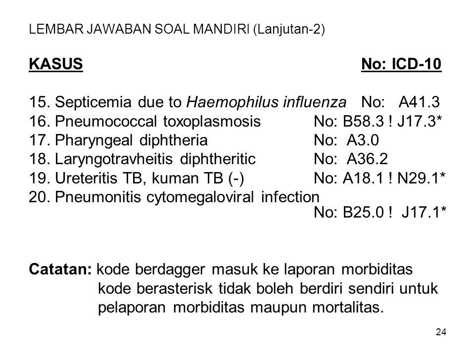 24 LEMBAR JAWABAN SOAL MANDIRI (Lanjutan-2) KASUSNo: ICD-10 15. Septicemia due to Haemophilus influenzaNo: A41.3 16. Pneumococcal toxoplasmosisNo: B58