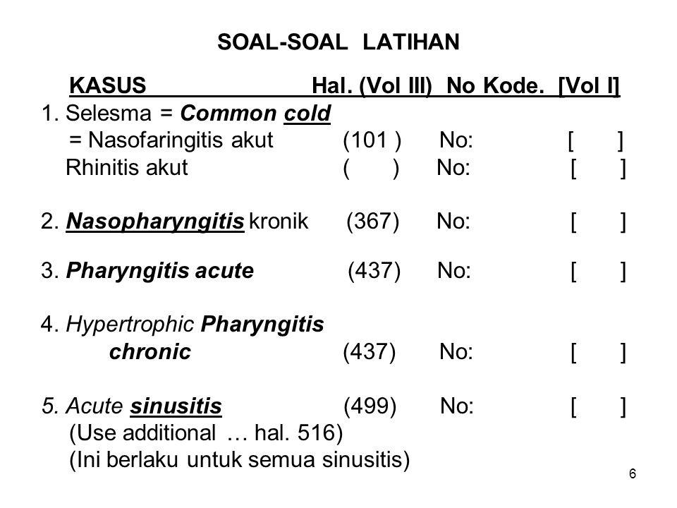 6 SOAL-SOAL LATIHAN KASUS Hal. (Vol III) No Kode. [Vol I] 1. Selesma = Common cold = Nasofaringitis akut (101 ) No: [ ] Rhinitis akut ( ) No: [ ] 2. N