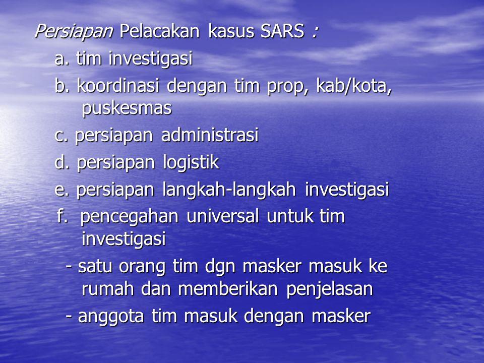 Persiapan Pelacakan kasus SARS : a.tim investigasi b.