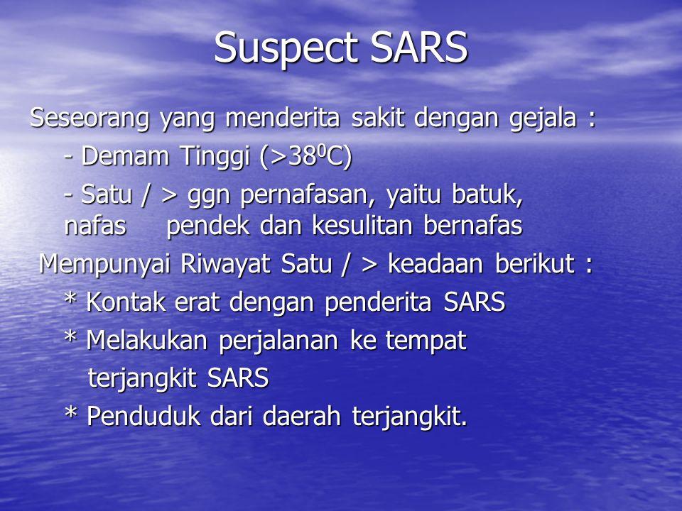 Suspect SARS Seseorang yang menderita sakit dengan gejala : - Demam Tinggi (>38 0 C) - Demam Tinggi (>38 0 C) - Satu / > ggn pernafasan, yaitu batuk, nafaspendek dan kesulitan bernafas - Satu / > ggn pernafasan, yaitu batuk, nafaspendek dan kesulitan bernafas Mempunyai Riwayat Satu / > keadaan berikut : Mempunyai Riwayat Satu / > keadaan berikut : * Kontak erat dengan penderita SARS * Kontak erat dengan penderita SARS * Melakukan perjalanan ke tempat * Melakukan perjalanan ke tempat terjangkit SARS terjangkit SARS * Penduduk dari daerah terjangkit.
