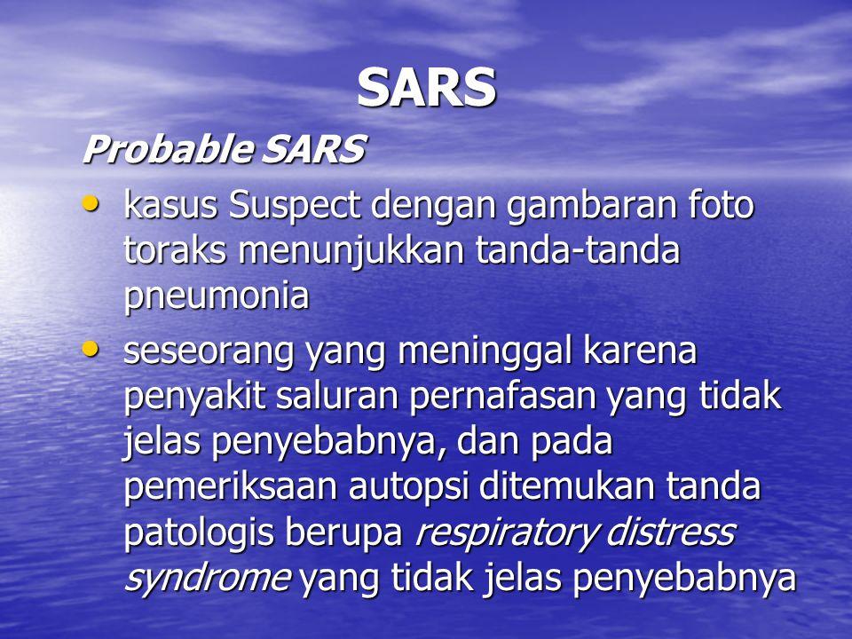 Pelacakan kasus SARS Tujuan: identifikasi kebenaran diagnosa identifikasi kebenaran diagnosa identifikasi kasus tambahan identifikasi kasus tambahan menetapkan besarnya masalah menetapkan besarnya masalah menetapkan upaya penanggulangan dan pencegahan terjadinya perluasan transmisi.