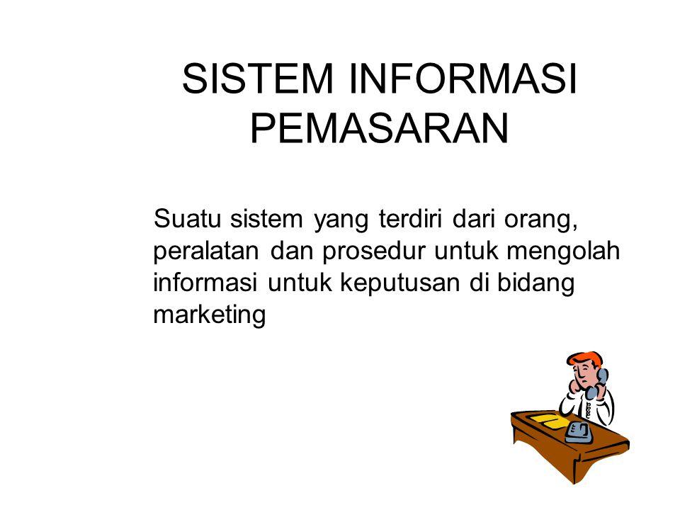 SISTEM INFORMASI PEMASARAN Suatu sistem yang terdiri dari orang, peralatan dan prosedur untuk mengolah informasi untuk keputusan di bidang marketing