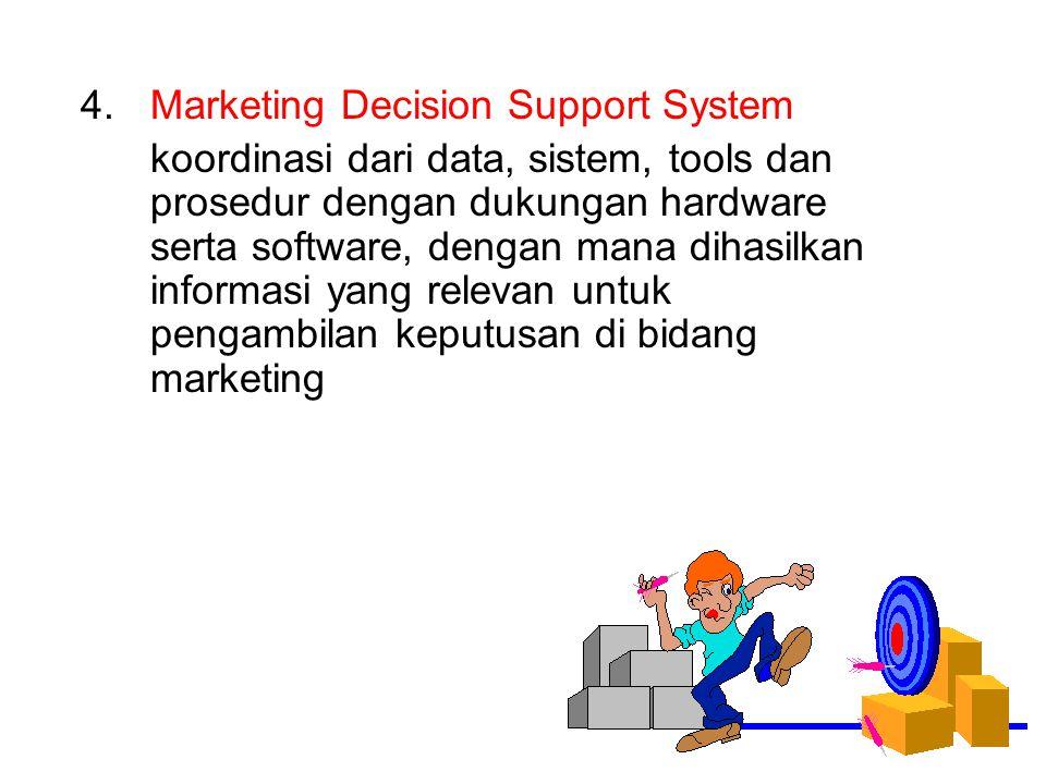 4.Marketing Decision Support System koordinasi dari data, sistem, tools dan prosedur dengan dukungan hardware serta software, dengan mana dihasilkan i