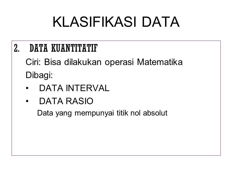KLASIFIKASI DATA 2.DATA KUANTITATIF Ciri: Bisa dilakukan operasi Matematika Dibagi: DATA INTERVAL DATA RASIO Data yang mempunyai titik nol absolut