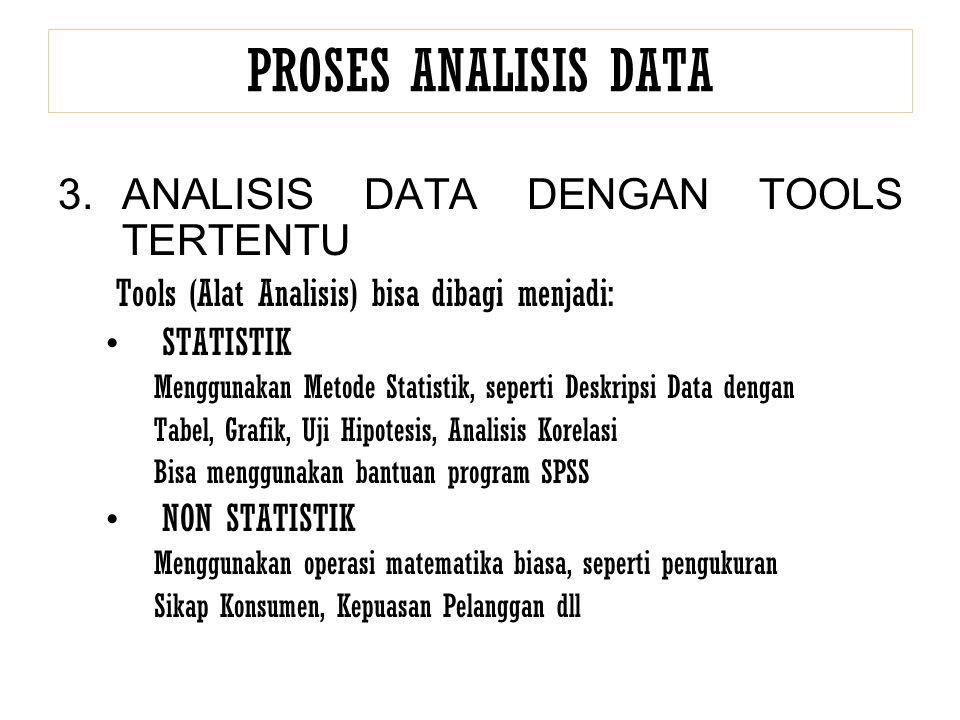 PROSES ANALISIS DATA 3.ANALISIS DATA DENGAN TOOLS TERTENTU Tools (Alat Analisis) bisa dibagi menjadi: STATISTIK Menggunakan Metode Statistik, seperti