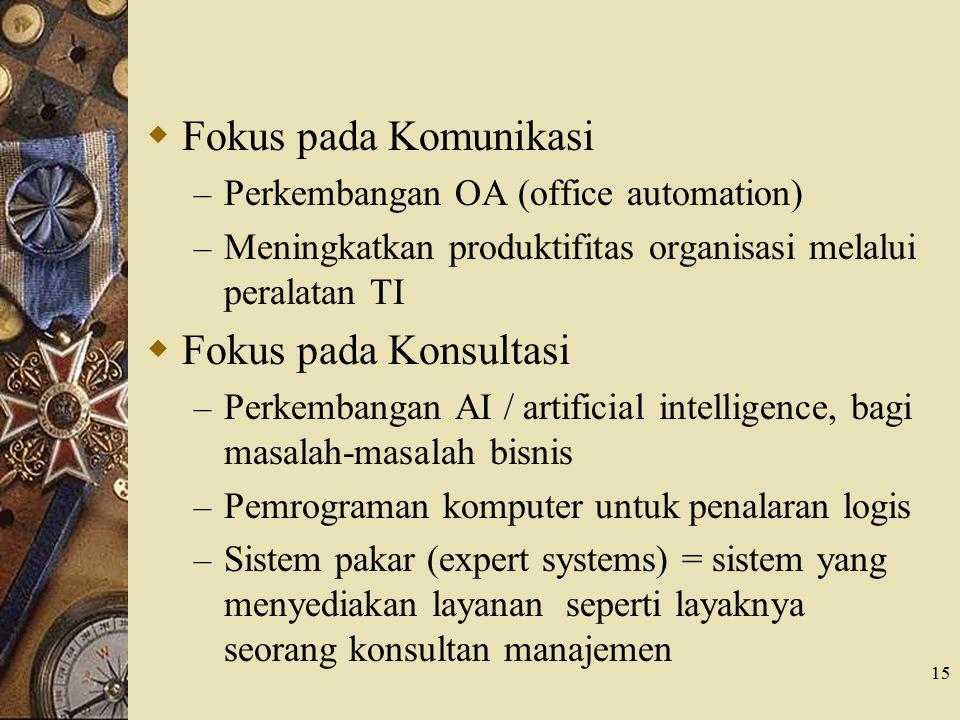 15  Fokus pada Komunikasi – Perkembangan OA (office automation) – Meningkatkan produktifitas organisasi melalui peralatan TI  Fokus pada Konsultasi