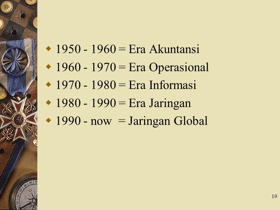19  1950 - 1960 = Era Akuntansi  1960 - 1970 = Era Operasional  1970 - 1980 = Era Informasi  1980 - 1990 = Era Jaringan  1990 - now = Jaringan Gl