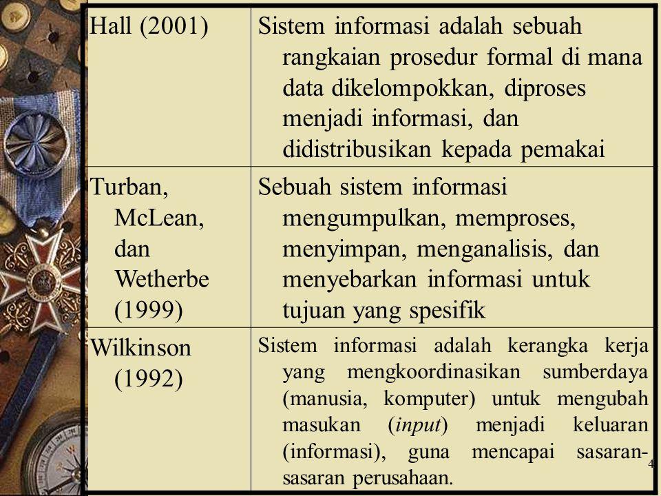 4 Hall (2001)Sistem informasi adalah sebuah rangkaian prosedur formal di mana data dikelompokkan, diproses menjadi informasi, dan didistribusikan kepa