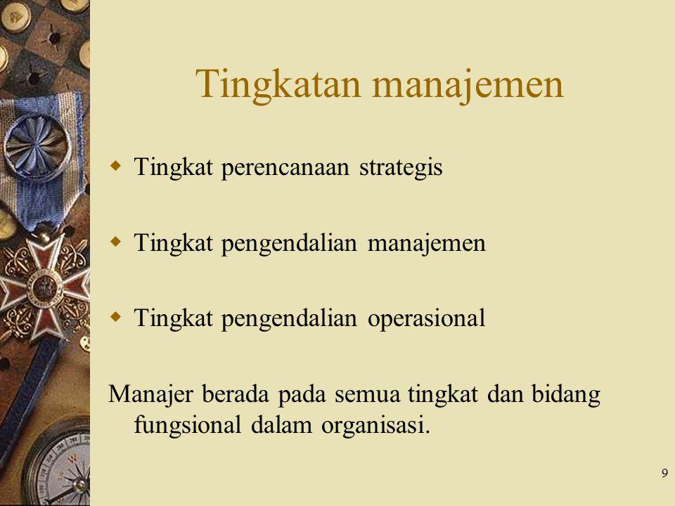 9 Tingkatan manajemen  Tingkat perencanaan strategis  Tingkat pengendalian manajemen  Tingkat pengendalian operasional Manajer berada pada semua ti