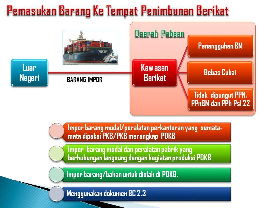 Luar Negeri Pemasukan barang ke TPB : Penangguhan BM, bebas Cukai dan Tidak dipungut : PPN, PPnBM, PPh Impor Pengeluaran barang dianggap sebagai baran