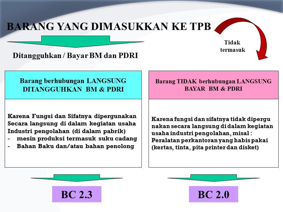 BARANG IMPOR Impor barang modal/peralatan perkantoran yang semata- mata dipakai PKB/PKB merangkap PDKB Impor barang modal dan peralatan pabrik yang be