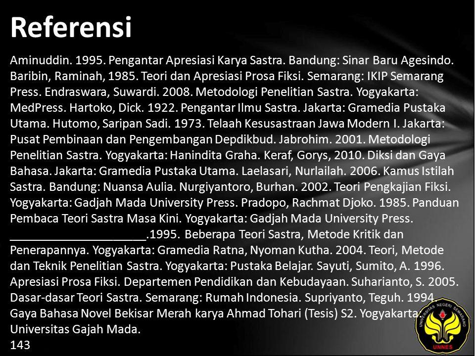 Referensi Aminuddin. 1995. Pengantar Apresiasi Karya Sastra. Bandung: Sinar Baru Agesindo. Baribin, Raminah, 1985. Teori dan Apresiasi Prosa Fiksi. Se