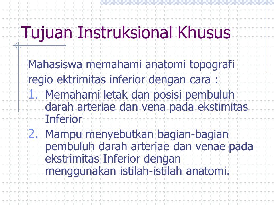 Tujuan Instruksional Khusus Mahasiswa memahami anatomi topografi regio ektrimitas inferior dengan cara : 1. Memahami letak dan posisi pembuluh darah a