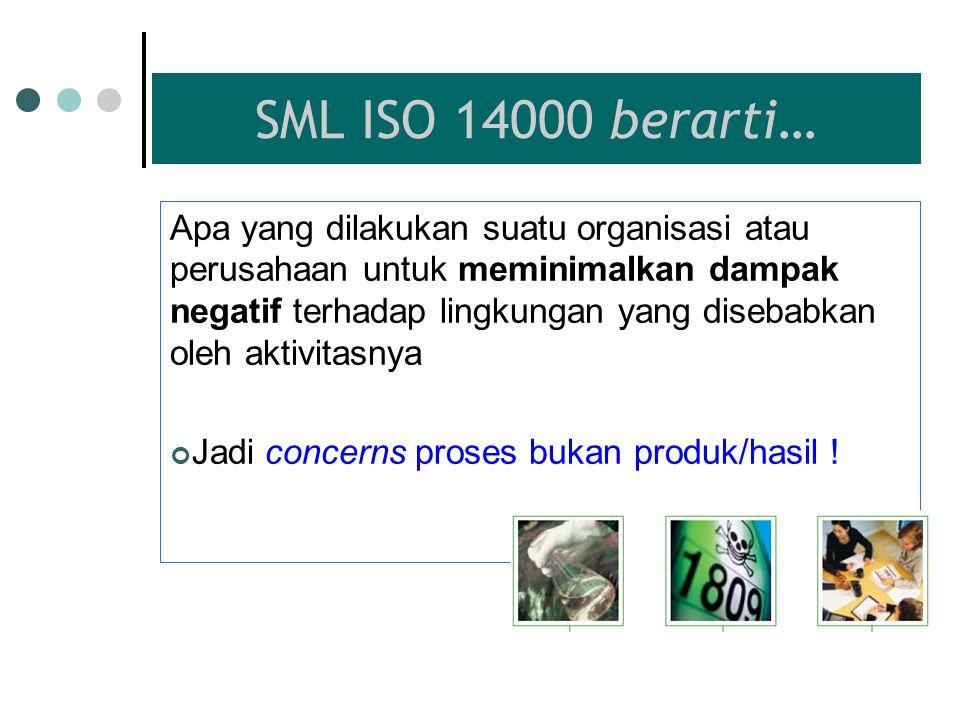 SISTEM MANAJEMEN LINGKUNGAN Sistem Manajemen Lingkungan menurut ISO 14001:2004 adalah bagian dari sistem manajemen organisasi yang digunakan untuk men