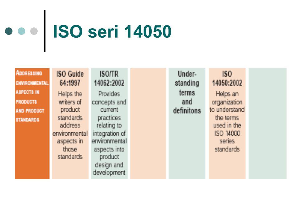 ISO 14000 SERIES ISO 14050 tentang Term and Definition Dalam dokumen ini terdapat definisi- definisi yang digunakan dalam ISO seri 14000.