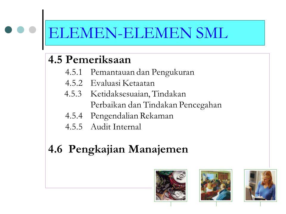 ELEMEN-ELEMEN SML 4.4. Penerapan dan Operasi 4.4.1 Sumber Daya, Peran, Tanggung Jawab dan Wewenang 4.4.2 Kompetensi, Pelatihan, dan Kepedulian 4.4.3 K