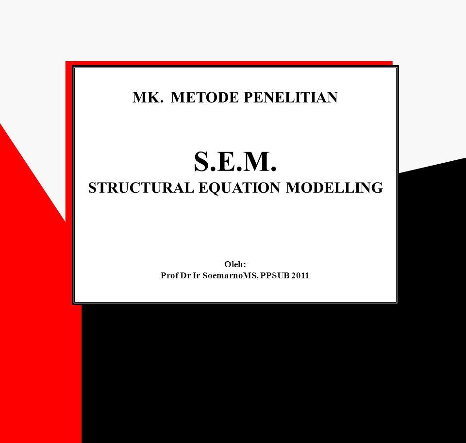 S.E.M.: STRUCTURAL EQUATION MODELLING MANAJEMEN SDM DOSEN PTS S.E.M.: STRUCTURAL EQUATION MODELLING MANAJEMEN SDM DOSEN PTS Beban Kerja (X11) Penghargaan (X12) Lingkungan Keluarga (X13) Konflik Peran (X14) Kelelahan Emosional (X1) Kepuasan Kerja (X2) Penilaian Kinerja (X31) Kinerja (X3) Komitmen Organisasional (Y) Diagram hasil akhir hubungan kausal : Pengaruh kelelahan emosional thd kepuasan kerja dan kinerja dalam pencapaian komitmen organisasional dosen PTS 0.364 (S) -0.248 (S) 0.265 (TS) 1 (S)0.555 (S) -0.121 (TS) 0.394 (S) -0.338 (S) -0.093 (TS) 0.199 (S)