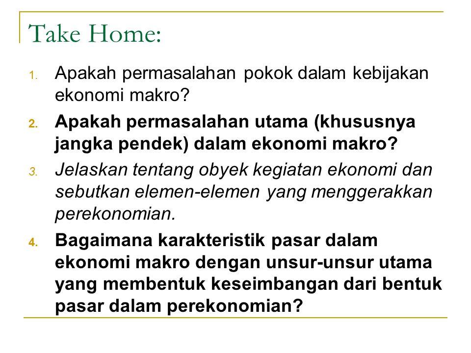 Take Home: 1. Apakah permasalahan pokok dalam kebijakan ekonomi makro? 2. Apakah permasalahan utama (khususnya jangka pendek) dalam ekonomi makro? 3.