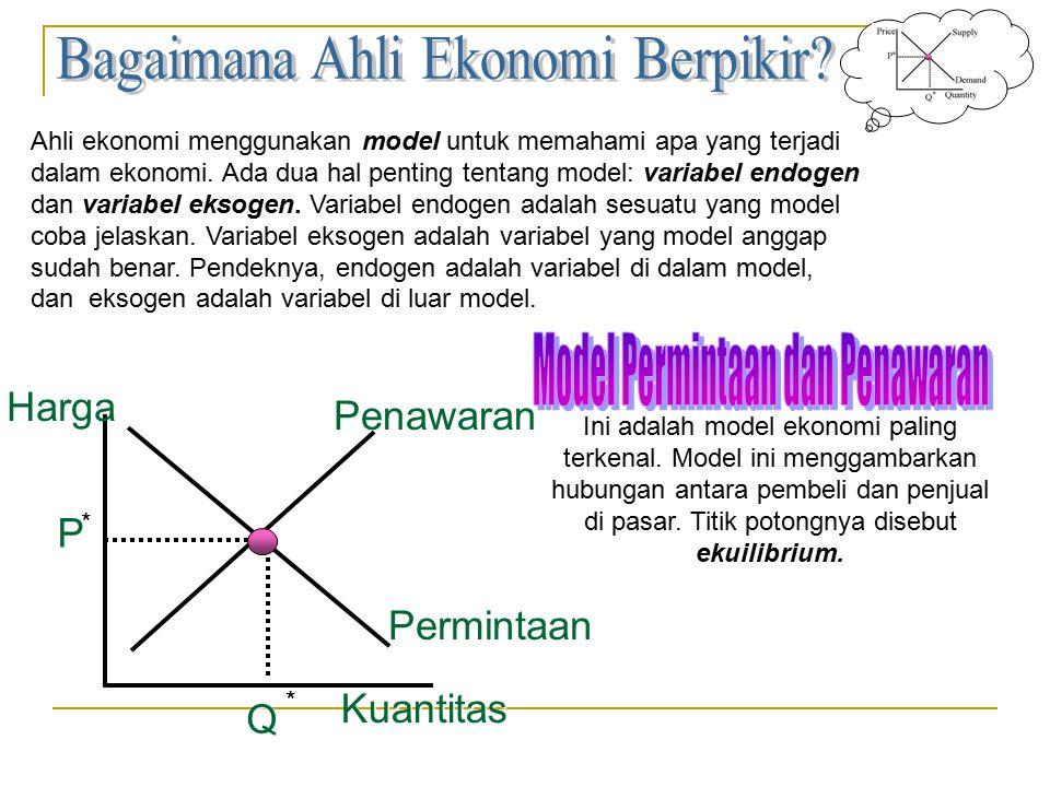 Ahli ekonomi menggunakan model untuk memahami apa yang terjadi dalam ekonomi. Ada dua hal penting tentang model: variabel endogen dan variabel eksogen
