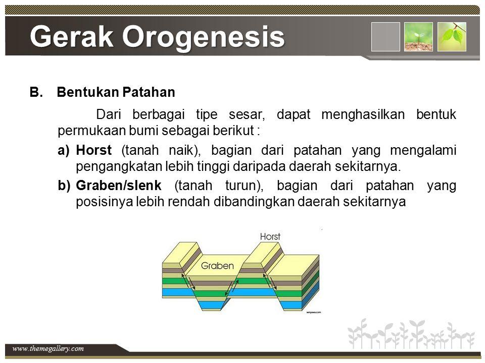 www.themegallery.com Gerak Orogenesis B.Bentukan Patahan Dari berbagai tipe sesar, dapat menghasilkan bentuk permukaan bumi sebagai berikut : a)Horst