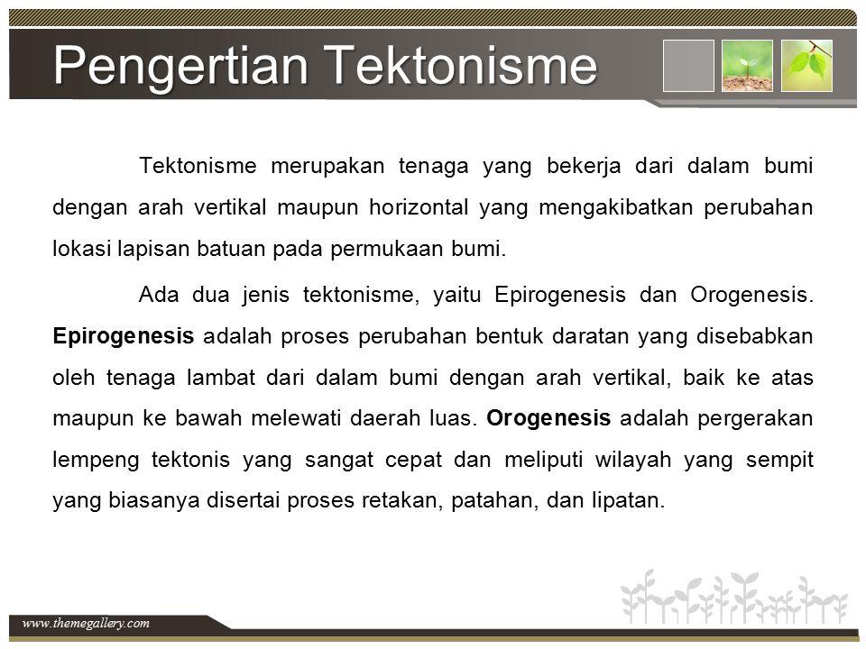 www.themegallery.com Pengertian Tektonisme Tektonisme merupakan tenaga yang bekerja dari dalam bumi dengan arah vertikal maupun horizontal yang mengak