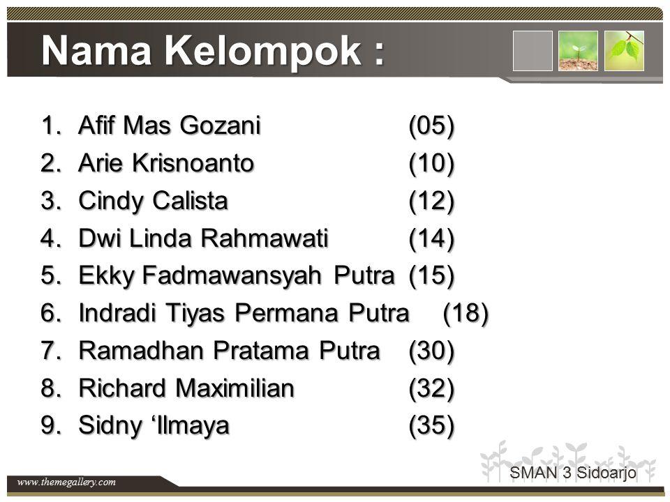 www.themegallery.com Nama Kelompok : 1.Afif Mas Gozani(05) 2.Arie Krisnoanto(10) 3.Cindy Calista(12) 4.Dwi Linda Rahmawati(14) 5.Ekky Fadmawansyah Put