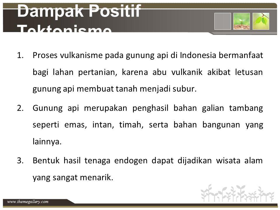 www.themegallery.com Dampak Positif Tektonisme 1.Proses vulkanisme pada gunung api di Indonesia bermanfaat bagi lahan pertanian, karena abu vulkanik a