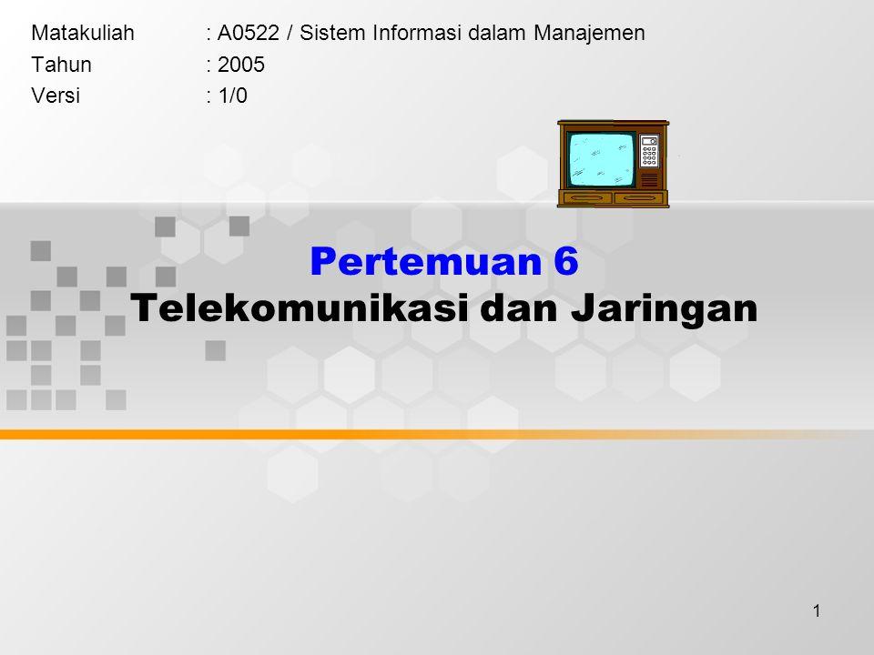 1 Pertemuan 6 Telekomunikasi dan Jaringan Matakuliah: A0522 / Sistem Informasi dalam Manajemen Tahun: 2005 Versi: 1/0