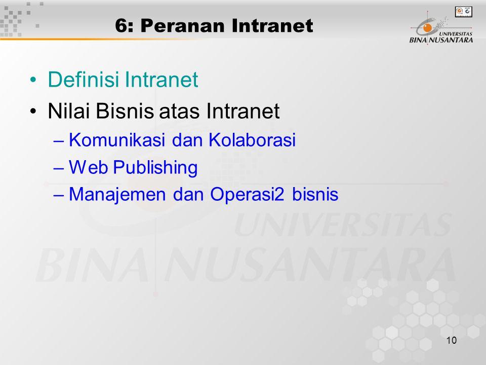 10 6: Peranan Intranet Definisi Intranet Nilai Bisnis atas Intranet –Komunikasi dan Kolaborasi –Web Publishing –Manajemen dan Operasi2 bisnis
