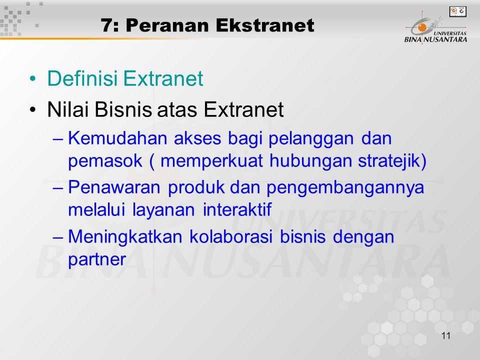 11 7: Peranan Ekstranet Definisi Extranet Nilai Bisnis atas Extranet –Kemudahan akses bagi pelanggan dan pemasok ( memperkuat hubungan stratejik) –Penawaran produk dan pengembangannya melalui layanan interaktif –Meningkatkan kolaborasi bisnis dengan partner