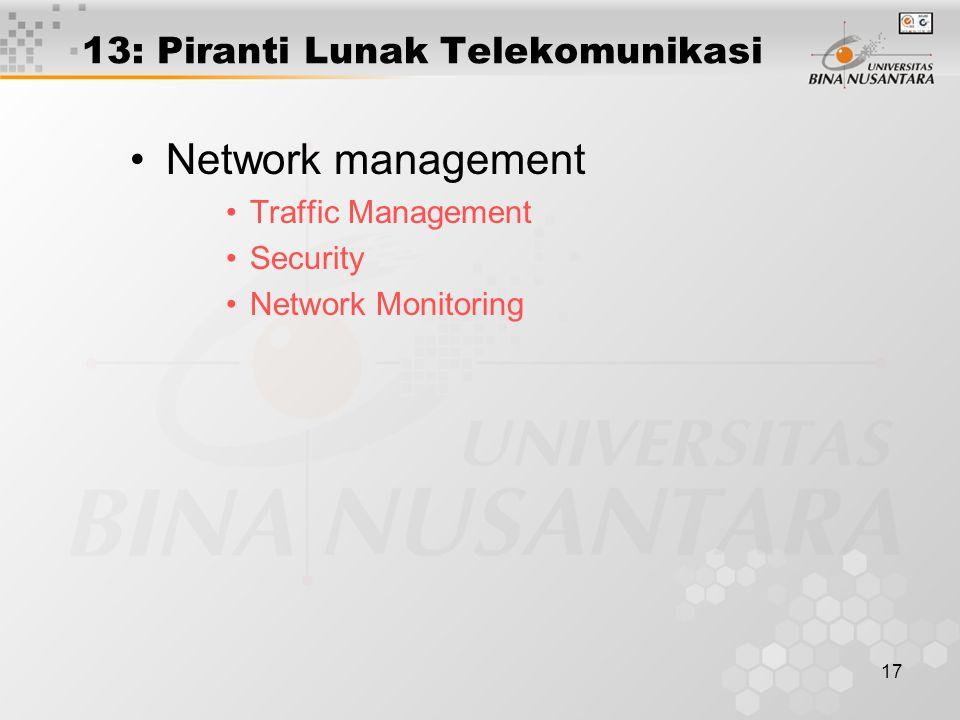 17 13: Piranti Lunak Telekomunikasi Network management Traffic Management Security Network Monitoring