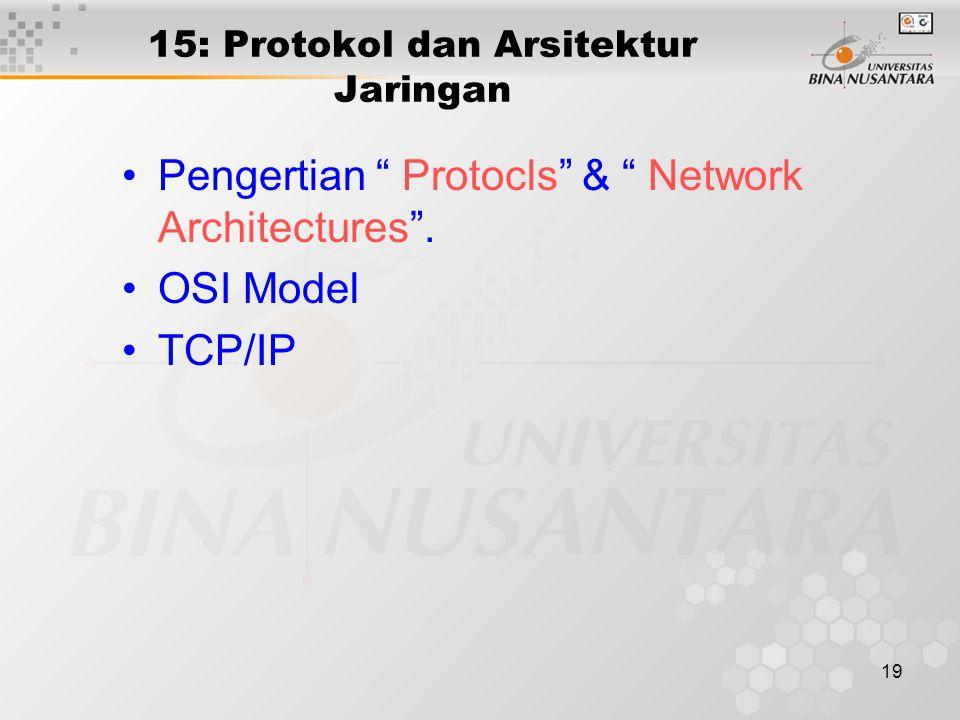19 15: Protokol dan Arsitektur Jaringan Pengertian Protocls & Network Architectures .