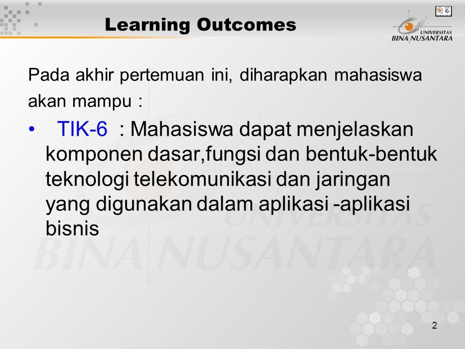 2 Learning Outcomes Pada akhir pertemuan ini, diharapkan mahasiswa akan mampu : TIK-6 : Mahasiswa dapat menjelaskan komponen dasar,fungsi dan bentuk-bentuk teknologi telekomunikasi dan jaringan yang digunakan dalam aplikasi -aplikasi bisnis