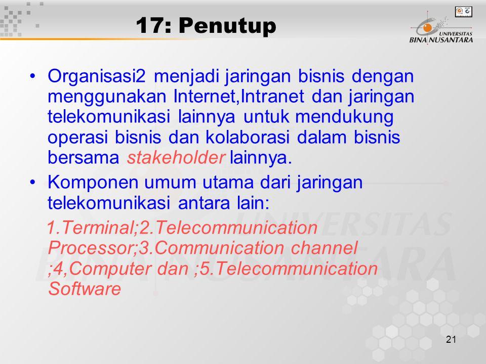 21 17: Penutup Organisasi2 menjadi jaringan bisnis dengan menggunakan Internet,Intranet dan jaringan telekomunikasi lainnya untuk mendukung operasi bisnis dan kolaborasi dalam bisnis bersama stakeholder lainnya.