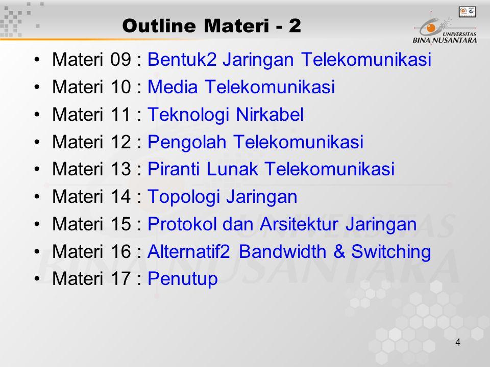4 Outline Materi - 2 Materi 09 : Bentuk2 Jaringan Telekomunikasi Materi 10 : Media Telekomunikasi Materi 11 : Teknologi Nirkabel Materi 12 : Pengolah Telekomunikasi Materi 13 : Piranti Lunak Telekomunikasi Materi 14 : Topologi Jaringan Materi 15 : Protokol dan Arsitektur Jaringan Materi 16 : Alternatif2 Bandwidth & Switching Materi 17 : Penutup