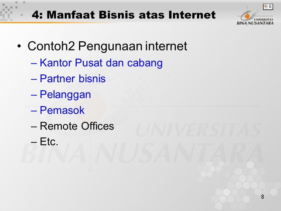 8 4: Manfaat Bisnis atas Internet Contoh2 Pengunaan internet –Kantor Pusat dan cabang –Partner bisnis –Pelanggan –Pemasok –Remote Offices –Etc.