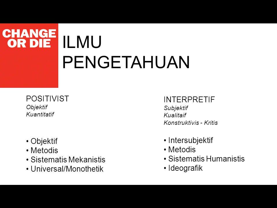 ILMU PENGETAHUAN POSITIVIST Objektif Kuantitatif Objektif Metodis Sistematis Mekanistis Universal/Monothetik INTERPRETIF Subjektif Kualitaif Konstrukt